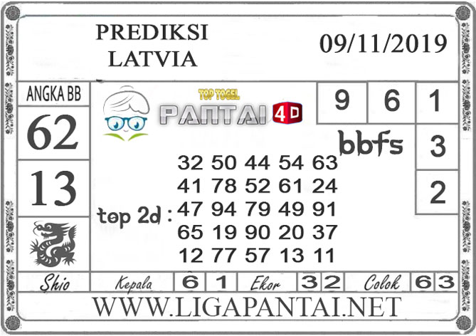 "PREDIKSI TOGEL ""LATVIA"" PANTAI4D 09 NOVEMBER 2019"