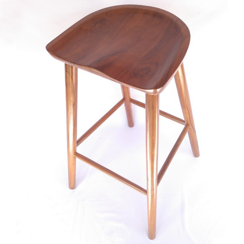 Tinuku Deplyrooms Studio showcased sculptured ergonomic design solid teak wood stool