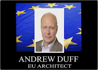 EU Architect Andrew U flag anDuff Graphic by Erika Grey of photo of Andrew Duff against the EU flag and with a title that reads Andrew Duff EU Architect