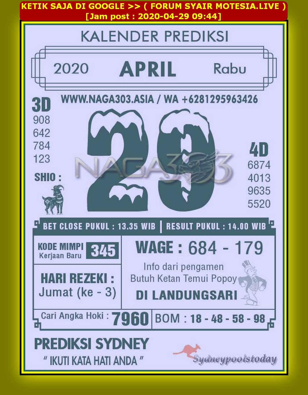 Kode syair Sydney Rabu 29 April 2020 89