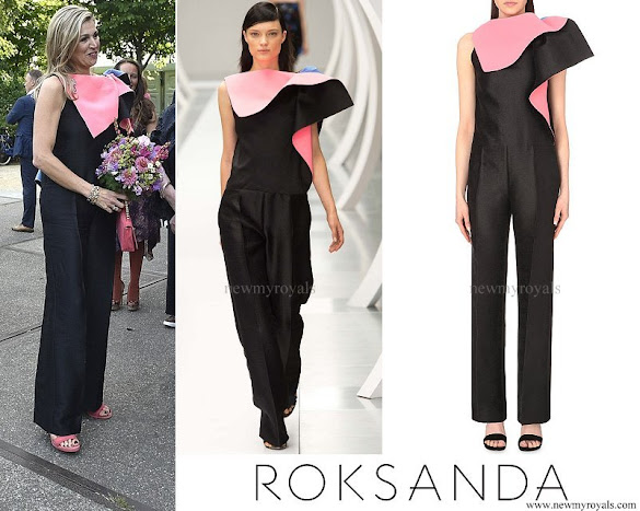 Queen Maxima wore Roksanda Ilincic Colour Blocked Ruffled Jumpsuit