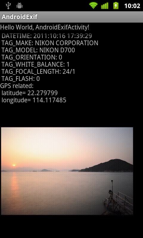 Android Coding: Get latitude and longitude of Exif