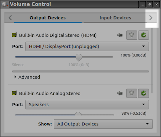 pavucontrol volume control output devices in lubuntu