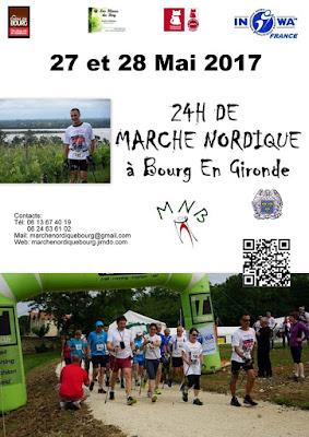 24h de Marche Nordique à Bourg en Gironde les 27-28 Mai 2017