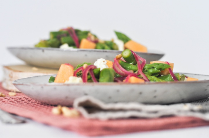 Asparagus Salad with Melon and Burrata