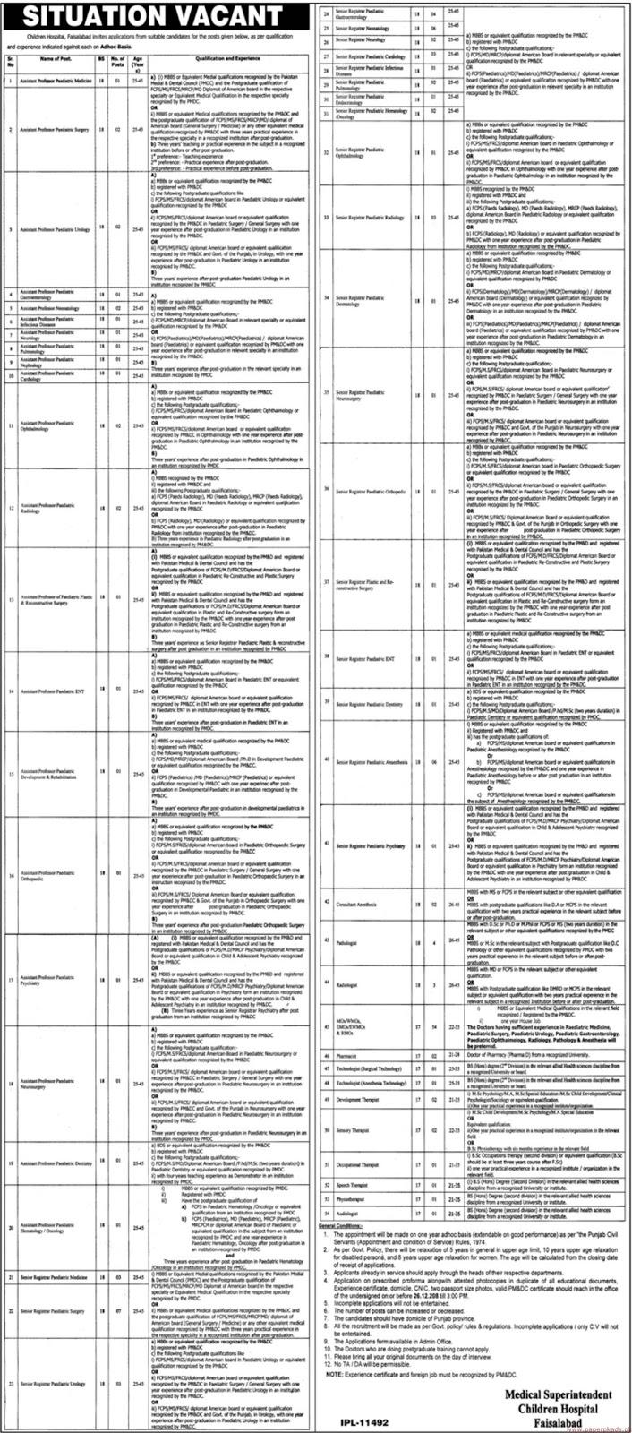 Children Hospital Faisalabad Jobs December 2018 For 150+ Vacancies