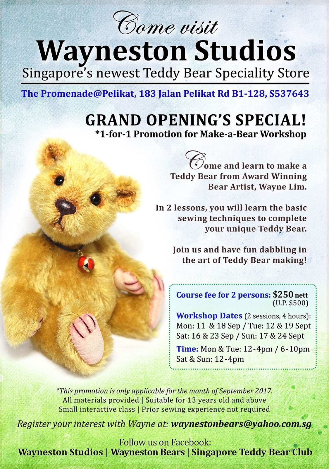 Wayneston Bears: Grand Opening Special ~ 1-for-1 Promotion for Make ...