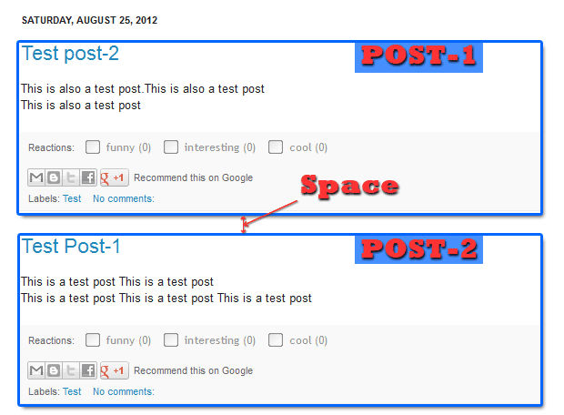 Remove or Add Space Between Posts in Blogger