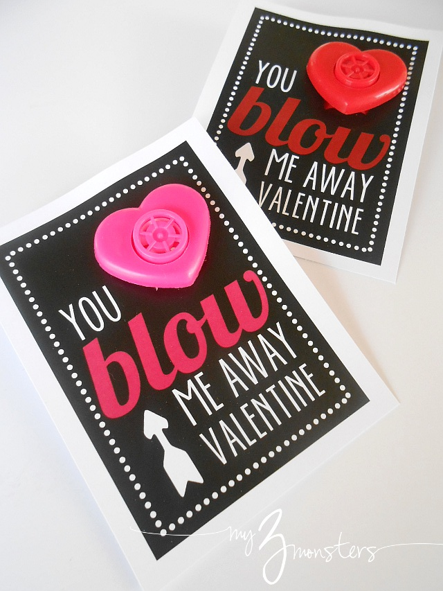 image relating to You Blow Me Away Valentine Printable named My 3 Monsters: Printable Valentines Suggestions