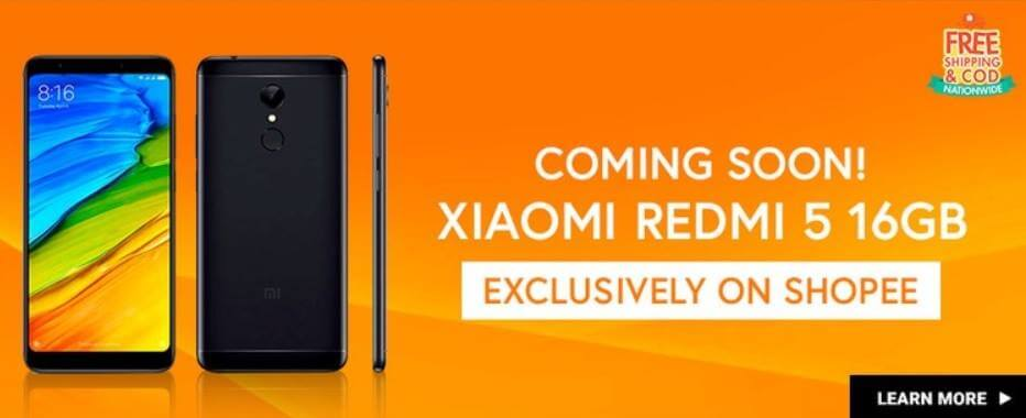 Xiaomi Redmi 5 Coming to Shopee this April 4 for Only Php5,990
