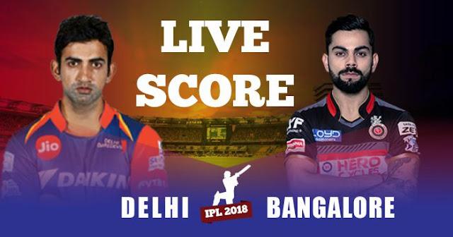 IPL 2018 Match 19 RCB vs DD Live Score and Full Scorecard