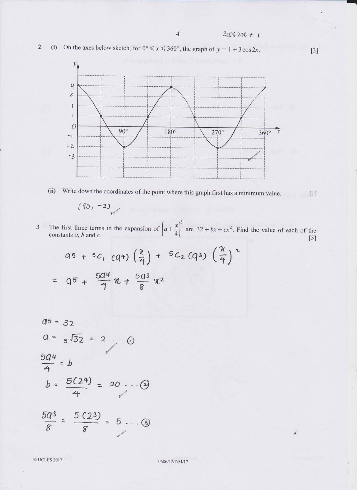 IGCSE Add Maths Working Answers [0606/12] Paper 1 2017