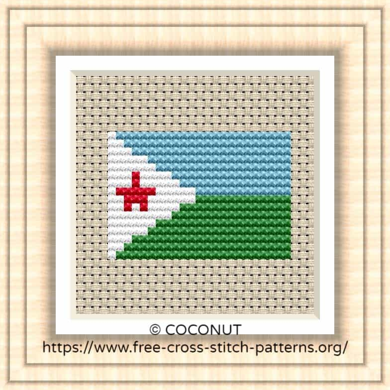 NATIONAL FLAG OF DJIBOUTI CROSS STITCH CHART