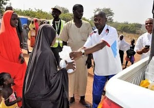EFCC chairman Ibrahim Magu  assured Nigeria's  IDPs in Abuja that our predicaments would soon be over... donate food items