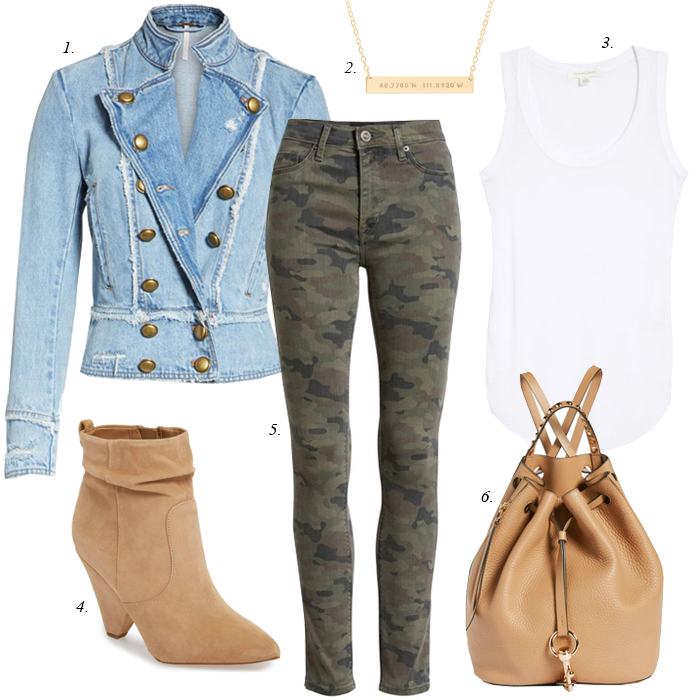 fall camo jeans outfit