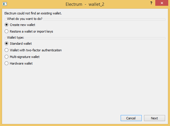 electrum-create-standard-wallet