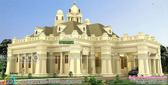Single storied Colonial model house plan