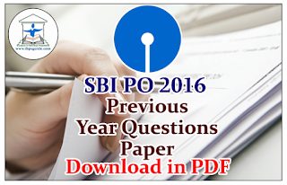 SBI PO 2016-Previous Year Questions Paper-Download in PDF