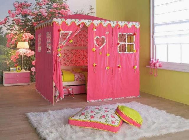 Desain Kamar Tidur Anak Minimalis Warna Pink