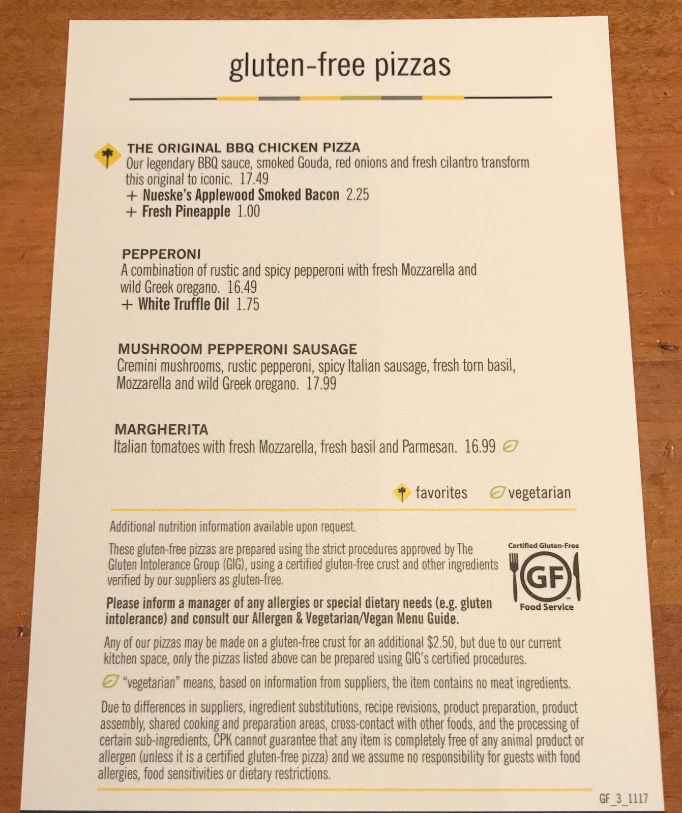 California Pizza Kitchen Menu: California Pizza Kitchen Menu Gluten Free