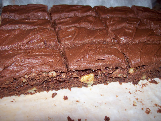 A pan of Bernice's Easy Brownies with chocolate icing.