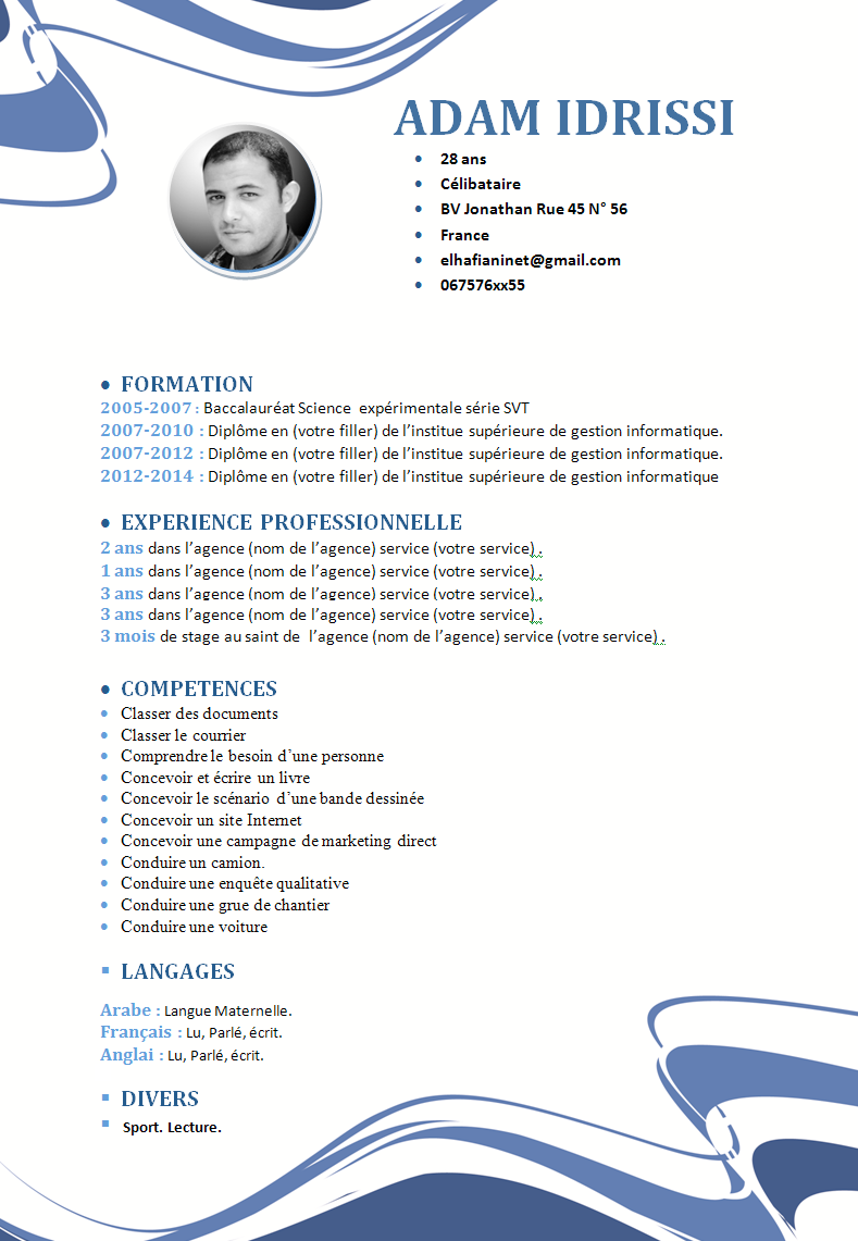 comment faire un cv  model cv format word style abstract plus demande d u0026 39 emploi