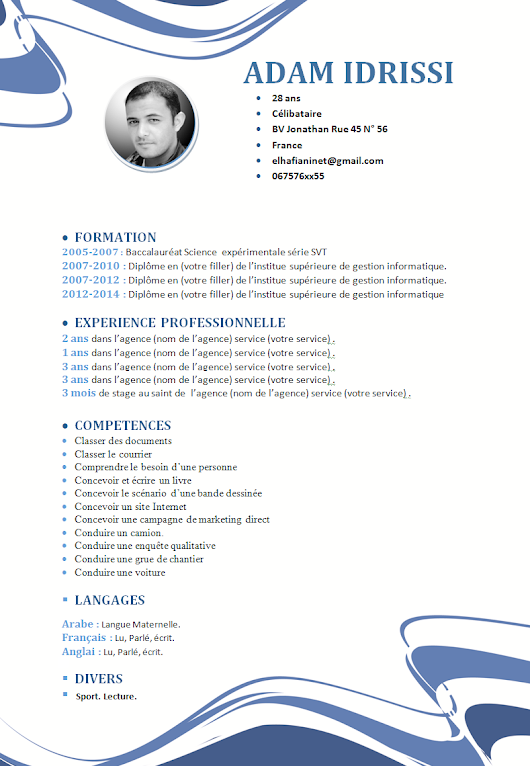 model cv format word style abstract plus demande d u0026 39 emploi