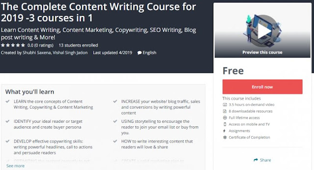 [100% Free] The Complete Content Writing Course for 2019 -3 courses in 1