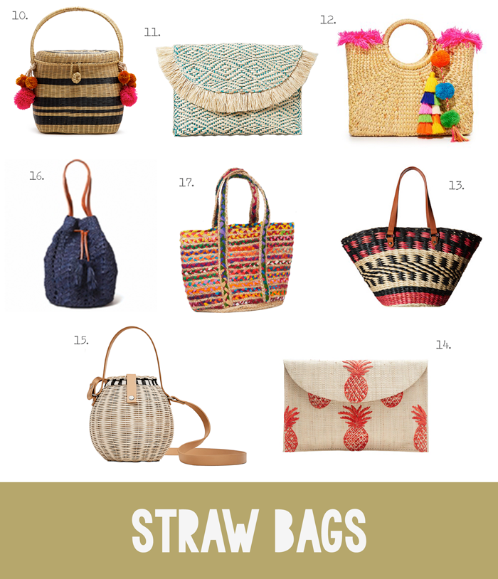 Bolsas, carteras, cestas, sobres, paja, mimbre, ratán, yute, rafia, tendencia de moda de verano, primavera, compras