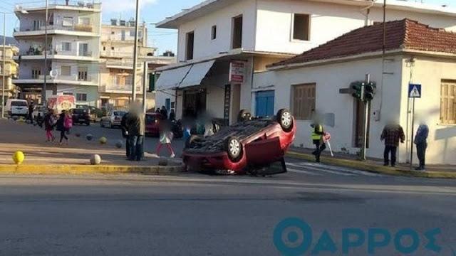 Αυτοκίνητο στην Καλαμάτα ντελαπάρισε μπροστά σε σχολείο