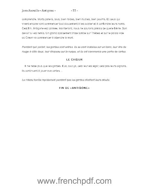 Antigone de Jean Anouilh pdf + un petit résumé