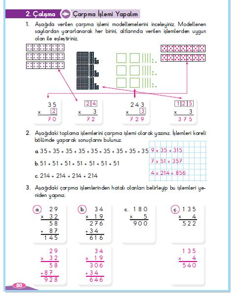 3. Sınıf Berkay Yayınları Matematik Çalışma Kitabı 80. Sayfa Cevapları Çarpma İşlemi Yapalım 2.Çalışma