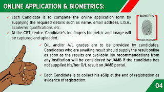 JAMB ONLINE APPLICATION AND BIO-METRICS