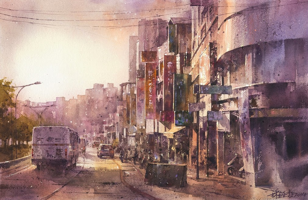 18-Lin Ching-Che 林經哲-Dreamlike-Watercolor-Paintings-in-the-City-www-designstack-co