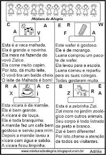 Pequenos textos alfabetização
