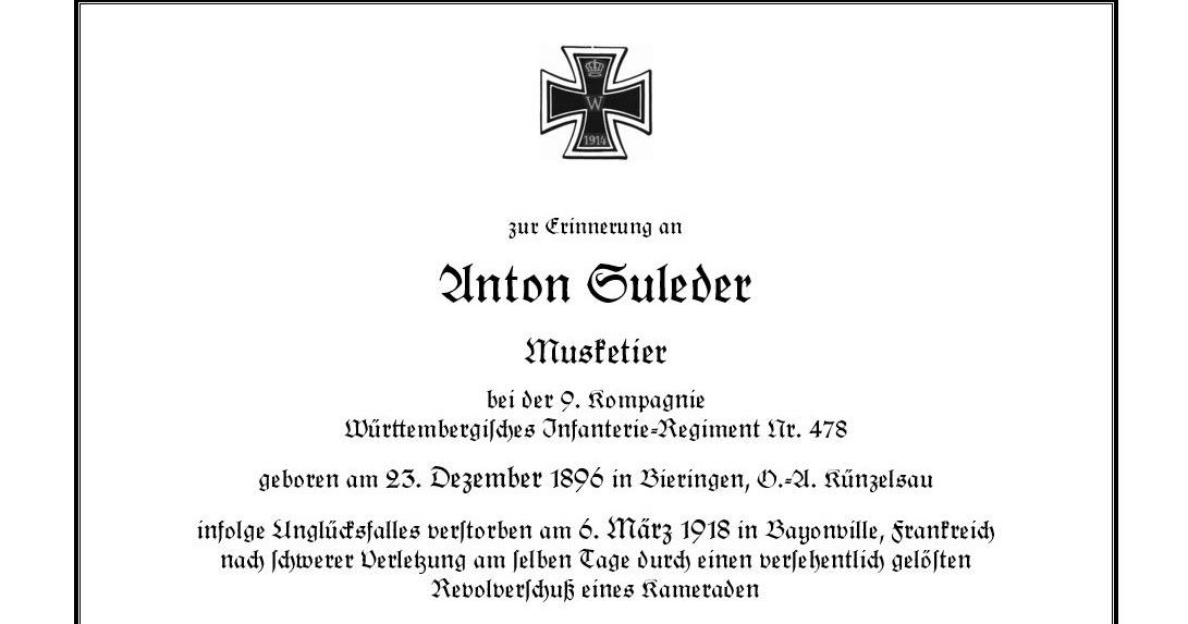 Württembergischer Weltkriegs-Blog: 6. März 1918