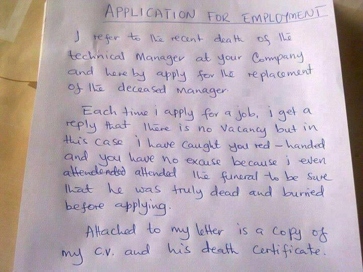 Check out the letter an applicant sent to a company that rejected his application severally
