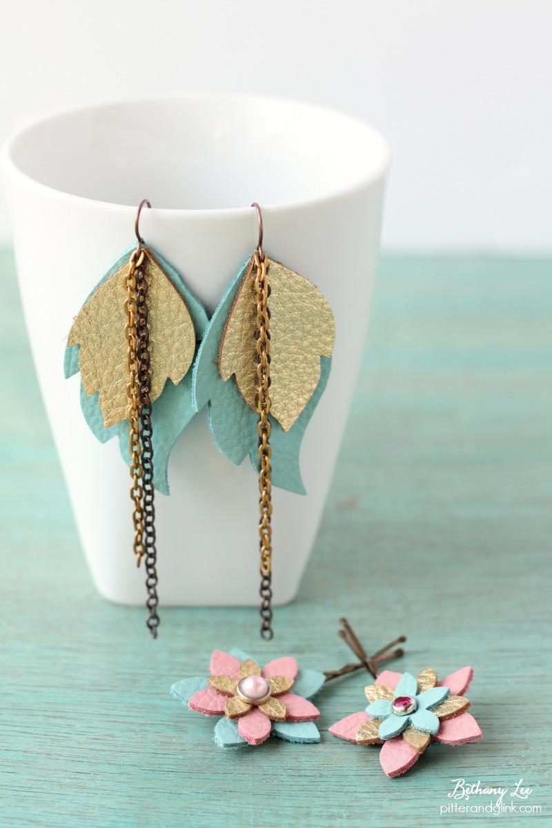 Pitterandglink easy to make diy leather earrings