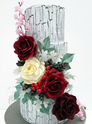 winter hochzeitstorte krakelee mit zuckerblumen