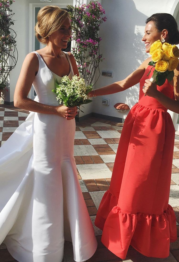 best red bridesmaid dress