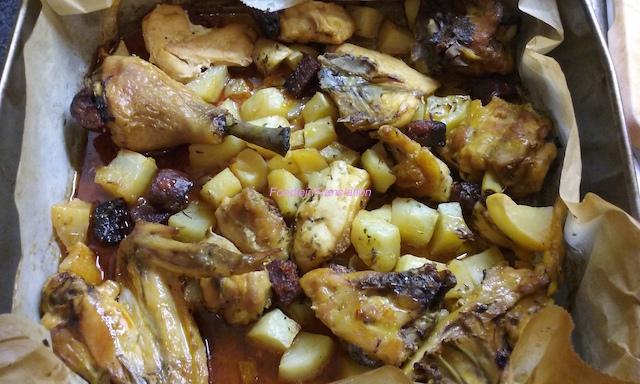 Pollo arrosto con chorizo e patate