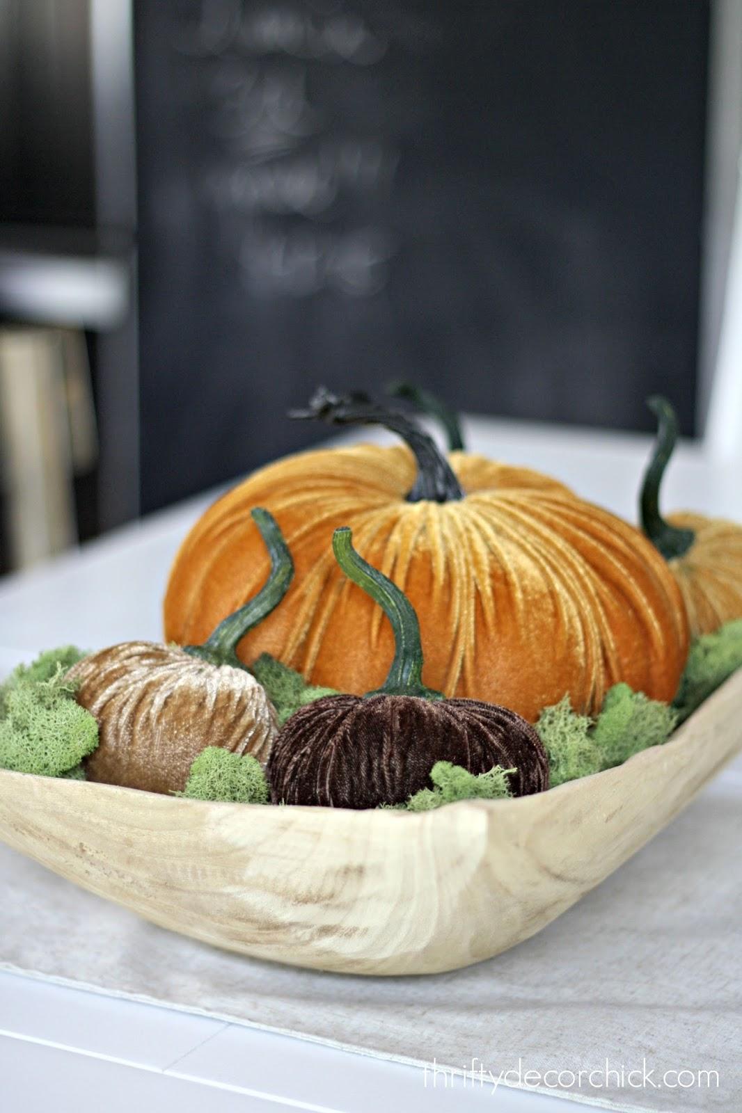 bowl of velvet pumpkins