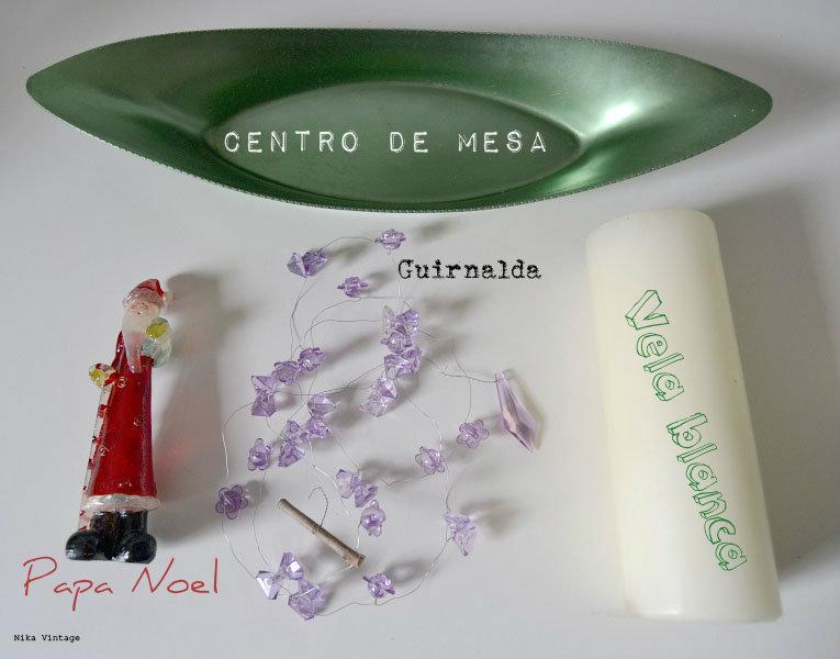 centro navideño, centro vintage, centro aluminio, velas, ramas, decoracion navideña, navidad, papa noel, guirnalda