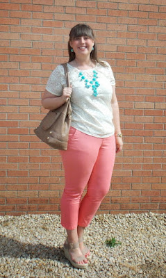 an outfit with coral chinos, a lace tee, turquoise jewelry, and nude strappy wedges
