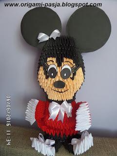 Myszka Mickey, Disney, papier, origami modułowe 3d, segmentowe