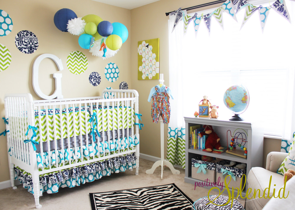 Baby boy nursery tour positively splendid crafts for Baby boy bedroom decoration