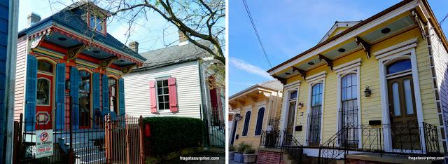 Creole cottages, moradias típicas do Faubourg Marigny de Nova Orleans