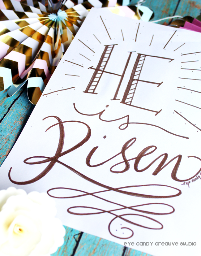 easter season, He is risen, hand lettered print, art print, hand lettering