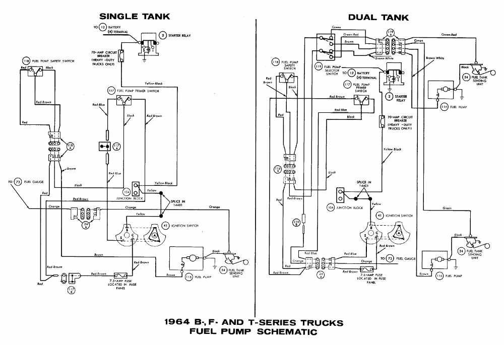 Ford B-, F-, T-Series Trucks 1964 Fuel Pump Schematic