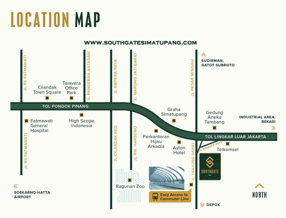 Lokasi Apartemen Southgate Sinarmas Land